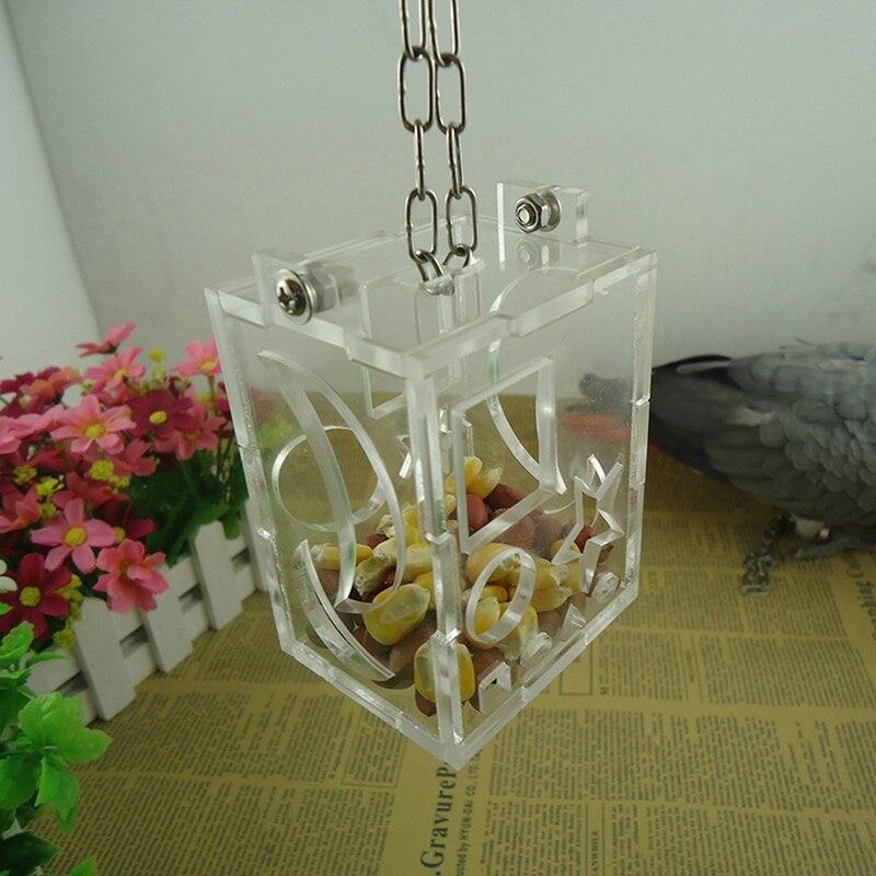 Urijk Transparent Acrylic Bird Feeder Hang Foraging Toys