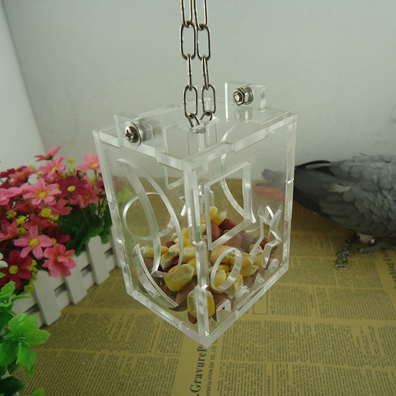 Urijk Transparent Acrylic Bird Feeder Hang Foraging Toys Cockatiel Parrot Treat Hunt Feeds Pets Birds Accessories Feeding Cage