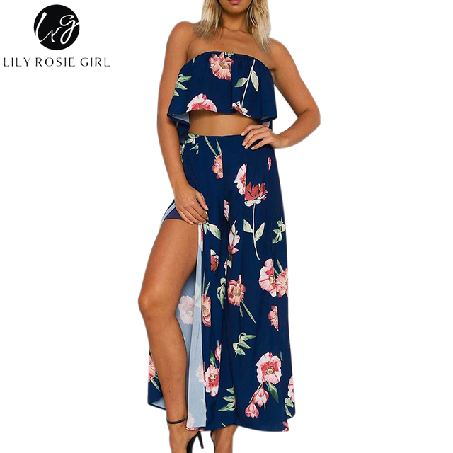 d745d9297a8e Lily Rosie Girl Off Shoulder Navy Bule Floral Jumpsuits Women Summer Beach  Sexy Two Piece Rompers Split Long Playsuits Overalls