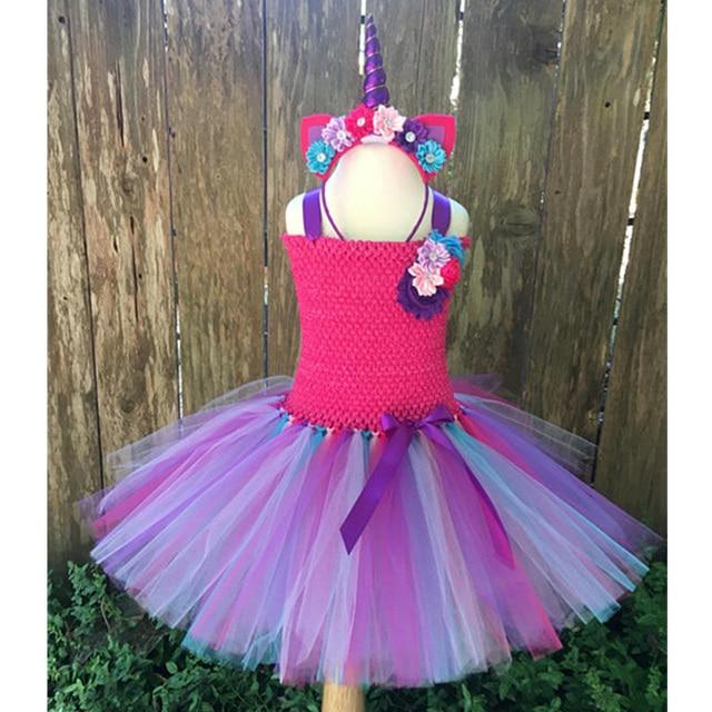 fashion girl rainbow pony unicorn tutu dress flowers princess birthday party dresses girls christmas halloween costume