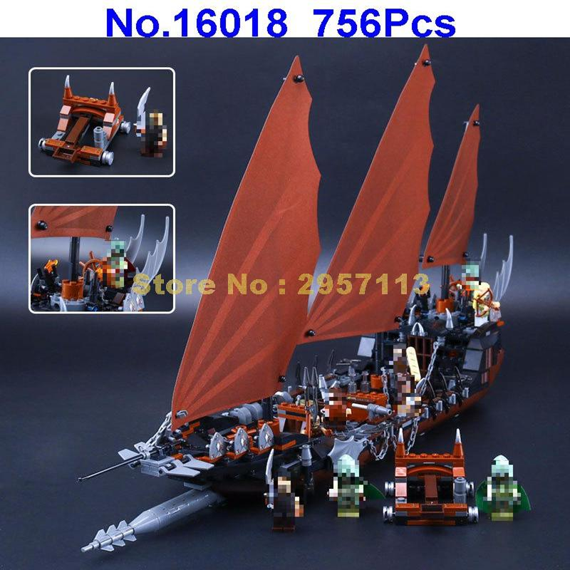 Lepin 16018 756pcs Lord Of Rings Series Ghost Pirate Ship Building Block Compatible 79008 Brick Toy lepin movie series ghost pirate ship 16018 756pcs building block for children toys 79008 compatible legoe pirate ship