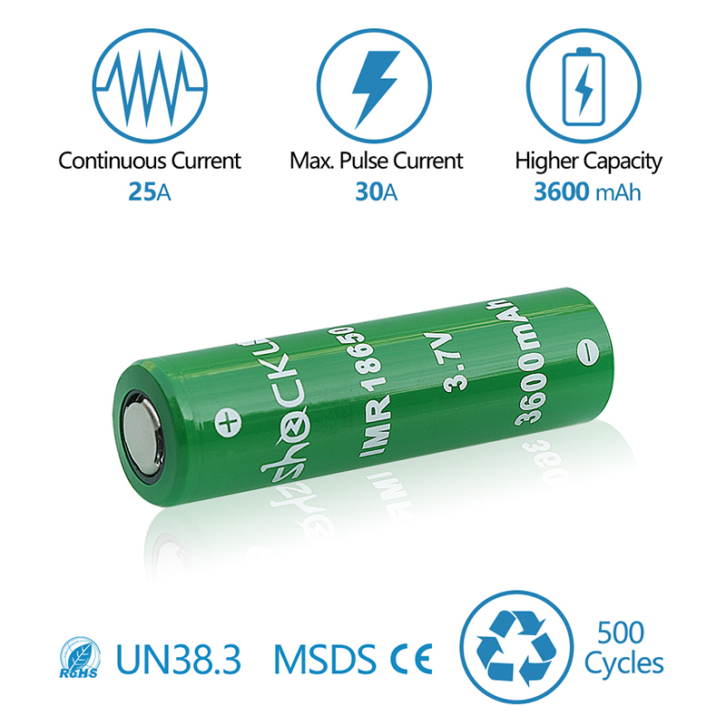 US $16 21 8% OFF|Shockli 18650 battery 3 7V 3600mAh 3500mAh rechargeable  battery Li ion bateria 30A IMR batterie for e cigarete flashlight tools-in