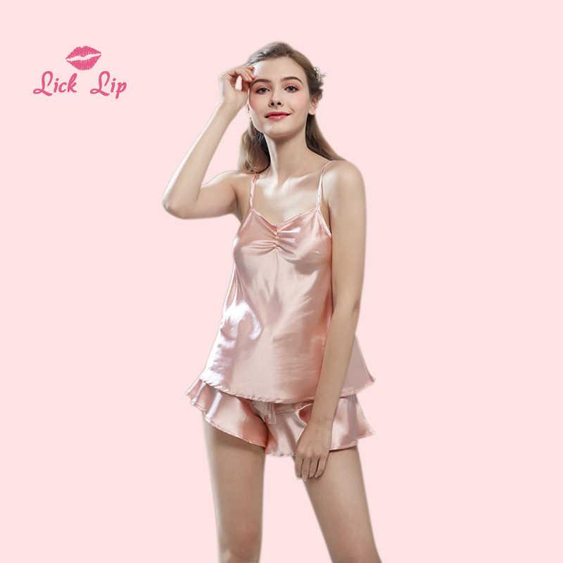 3c7c606913 Lick Lip Pink Satin Pajama Sets Women Pajamas Nightwear Mujer Pijama  Lingerie Ruffle Shorts Pyjama Femme