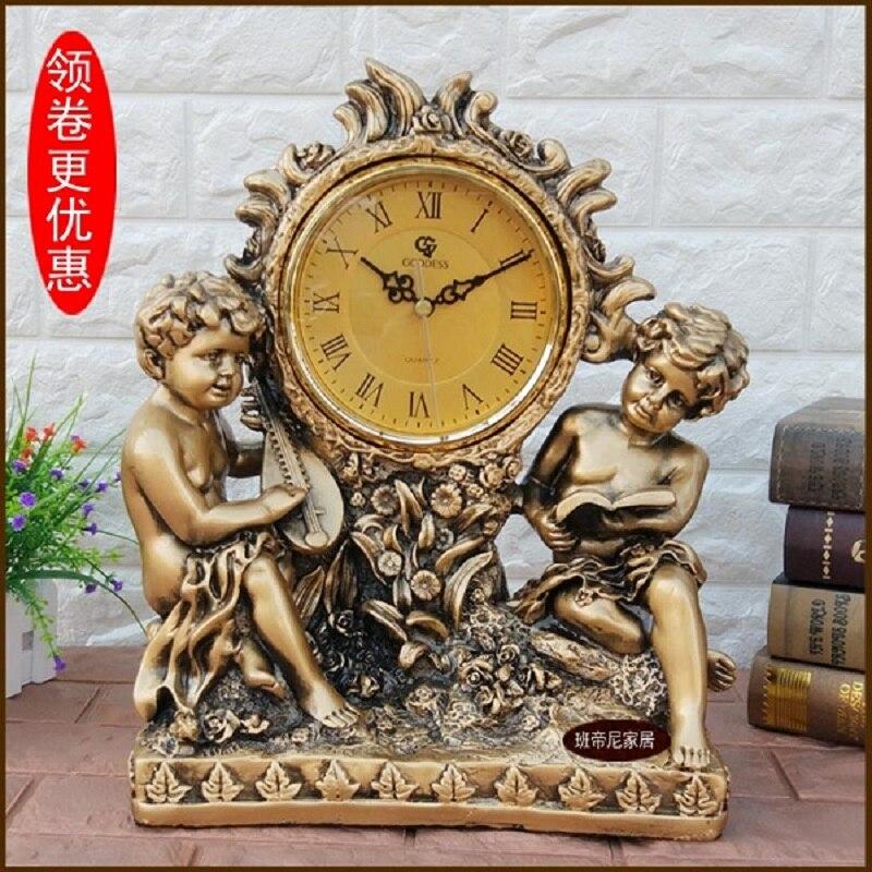 Décorations de noël pour la maison pendule bureau pendule bureau horloge ornement européen rétro horloge grande silencieuse créative horloge