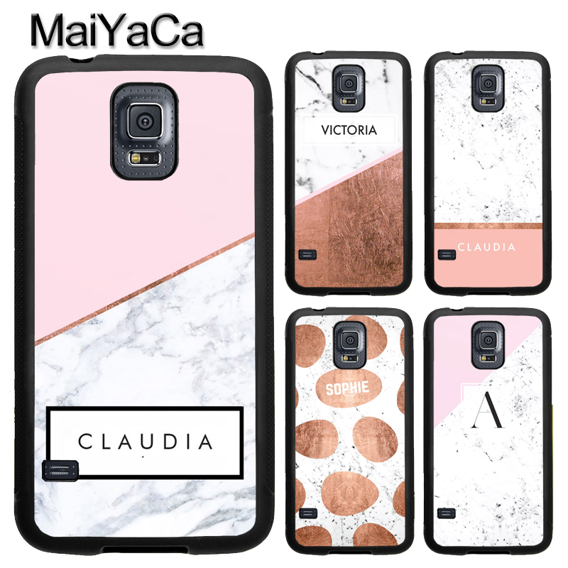 MaiYaCa PERSONALISED MARBLE NAME INITIALS LETTER TPU Phone Case For Samsung Galaxy S4 S5 S6 S7 edge S8 S9 Plus Note 8 5 4 Cover