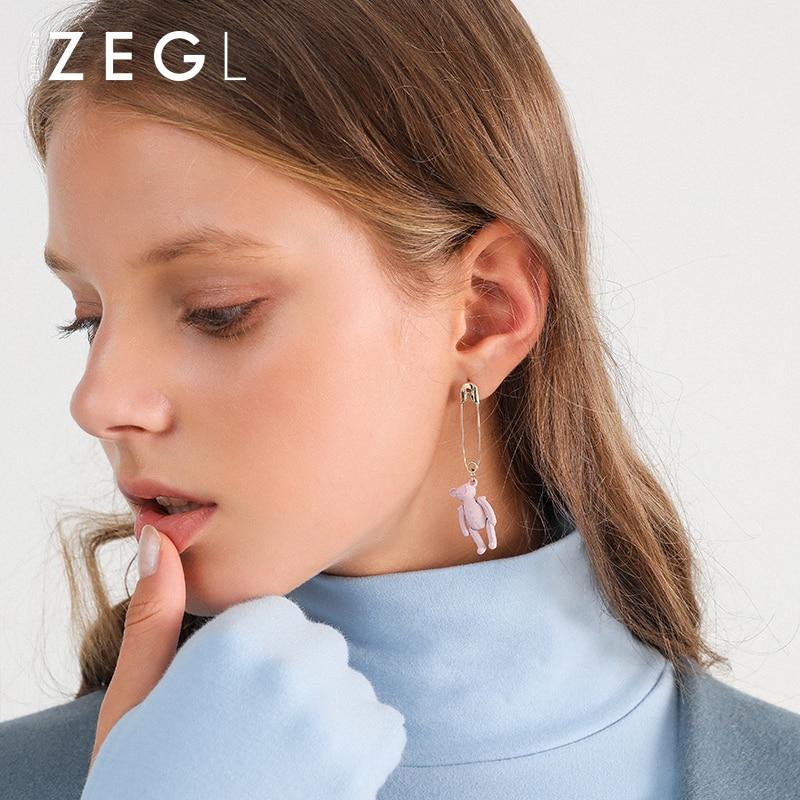 ZEGL cute bear fashion earrings pink earrings for women creative earrings simple long earrings for women ear jewelryZEGL cute bear fashion earrings pink earrings for women creative earrings simple long earrings for women ear jewelry