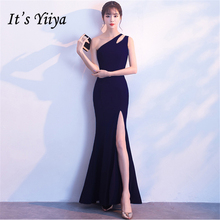 Its Yiiya Party gowns Elegant One-Shoulder Sleeveless Mermaid Prom dress Sexy Backless Floor-length Zipper evening dresses C257