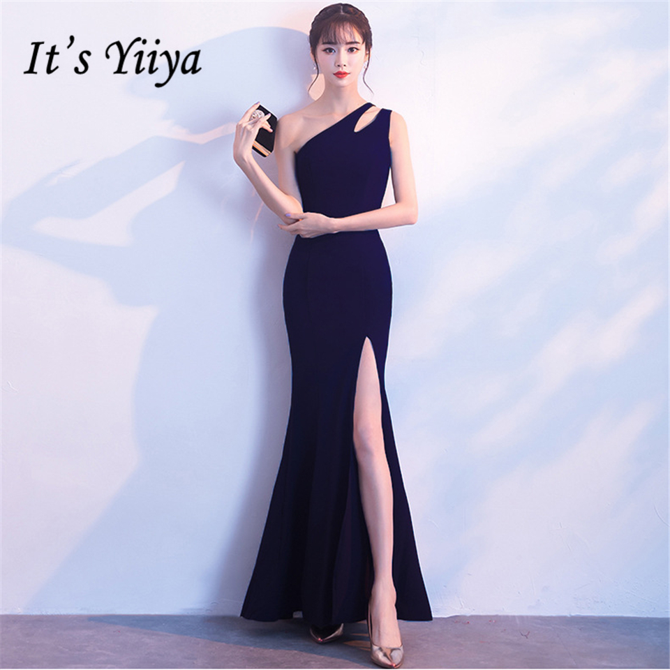 It's Yiiya Party gowns Elegant One-Shoulder Sleeveless Mermaid Prom   dress   Sexy Backless Floor-length Zipper   evening     dresses   C257