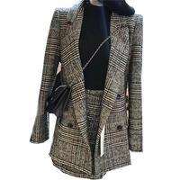 Hot Selling new 2018 lattice stripes long suit jacket half skirt suit ladies fashion casual suit + skirt two piece set (B482)