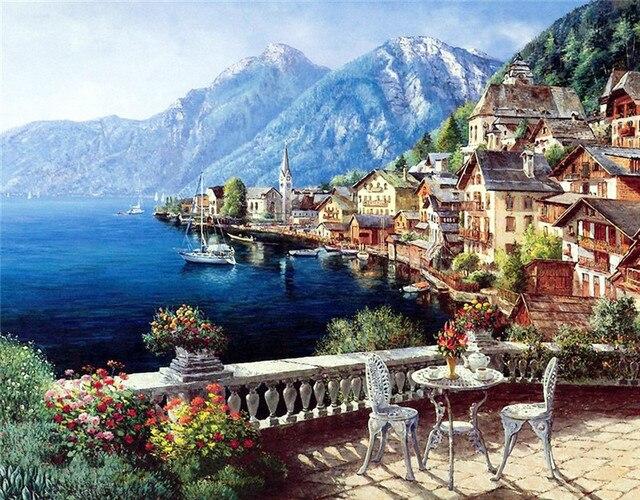 Красота жизни алмаз мозаика пейзаж приморский горный город размеров вышивка 3D DIY алмаз живопись природа свиток живописи