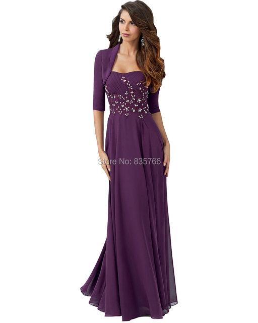 Vestido de madrinha vestido de Mangas Meia Lace Plus Size Roxo Longo Chiffon mãe dos vestidos de noiva com jaqueta para casamentos 2016