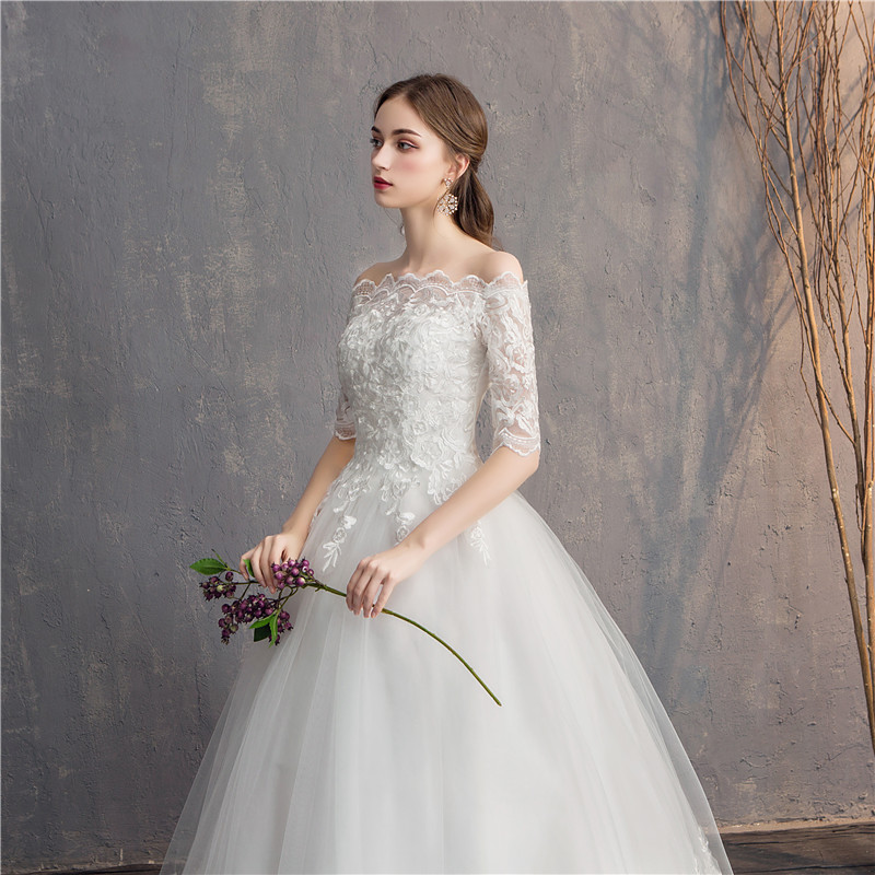 Image 4 - Do Dower Half Sleeve Vintage Wedding Dresses 2019 Off Should Embroidery Vestidos De Noivas Plus Size Bridal Ball Gowns-in Wedding Dresses from Weddings & Events
