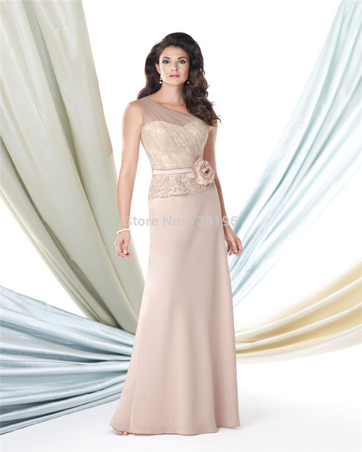 f490952b04 Elegant two-piece silky crepe and lace One shoulder Mother of the Bride  Dress the mother of the groom