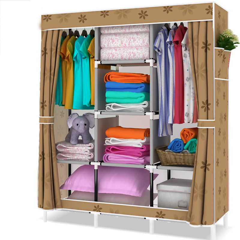 Простой современный складной шкаф собраны нетканый гардероб Съемная Костюмы мебель для Кабинета 13 мм Сталь трубы