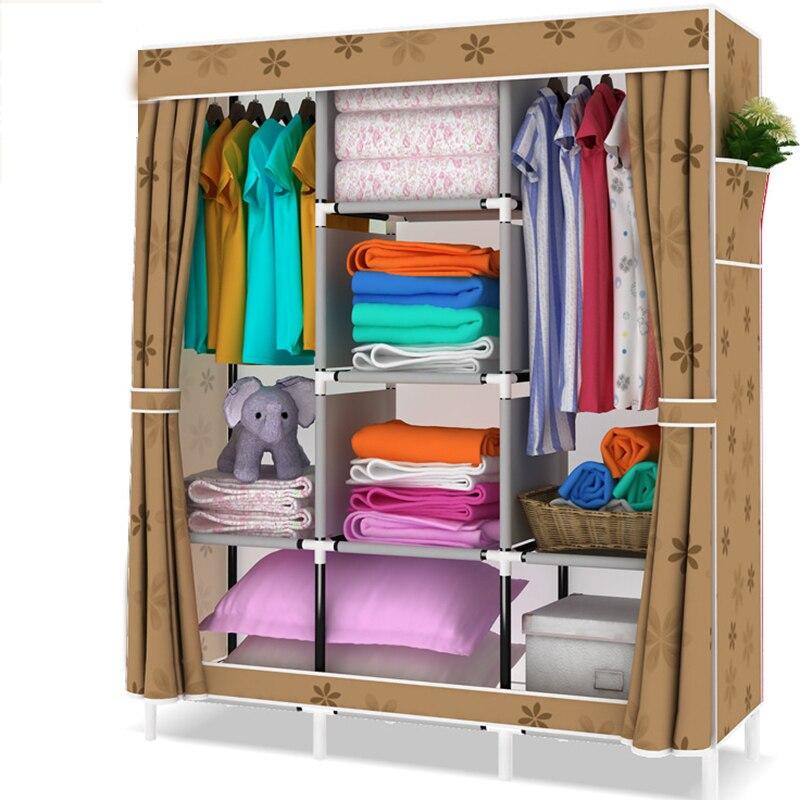 Simple pliage garde-robe moderne assemblé Non-tissé Tissu placard Amovible Vêtements meubles cabinet 13mm de Tuyaux En Acier