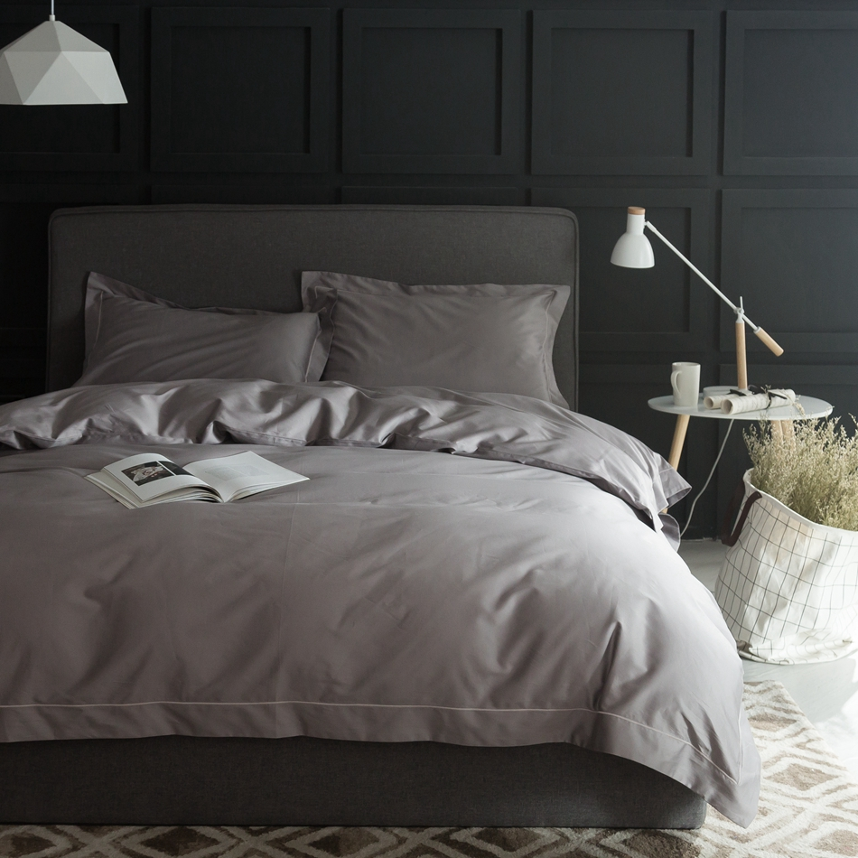 Luxury grey duvet cover cover set queen king size 100 for Pima cotton comforter