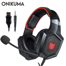 hot deal buy onikuma k8 casque ps4 gaming headset pc stereo earphones headphones with microphone led lights for laptop tablet/new xbox one