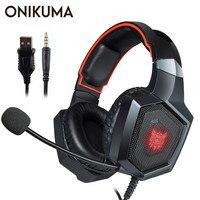Onikuma k8 casque ps4 게임용 헤드셋 pc 스테레오 이어폰 헤드폰 (마이크 포함) 노트북 태블릿 용 led 조명/새 xbox one