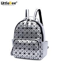 Mujeres mochila mochila 2016 mosaico geométrico del enrejado de diamante láser famosa marca bolso de lazo bolso de escuela mochila sac a dos