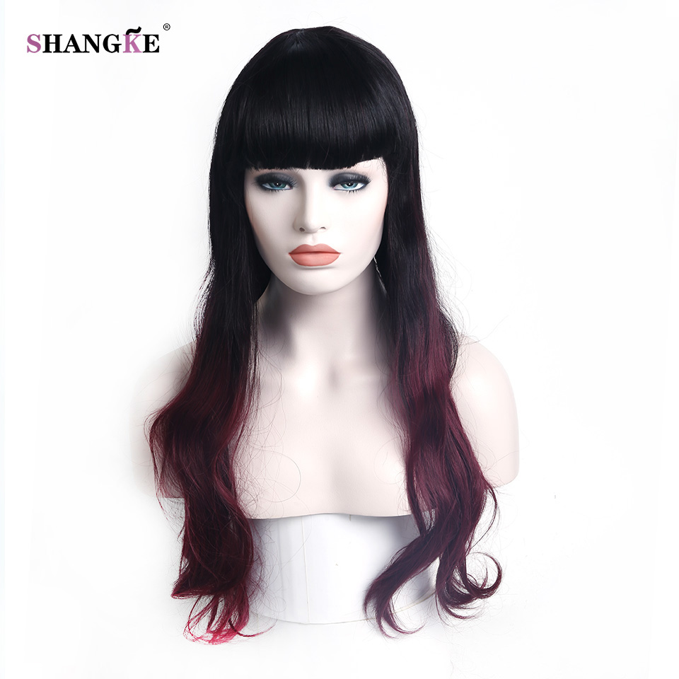 SHANGKE Long Curly Hair Ombre Black Red Wigs High Temperature Fiber Synthetic Hair For Women