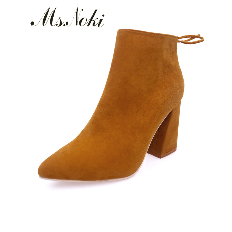Ms. Noli Top Quality Square heel Flock Women Pumps Pointed Toe Thin High Heels 2017 New Fashion Women Shoes 2017 new summer women flock party pumps high heeled shoes thin heel fashion pointed toe high quality mature low uppers yc268