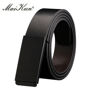 Maikun Belts for Men High Quality Smooth Buckle Synthetic Leather Male Belt Fashionable Men Belt for Jeans fashionable crocodile and letter z shape inlay design auto buckle belt for men