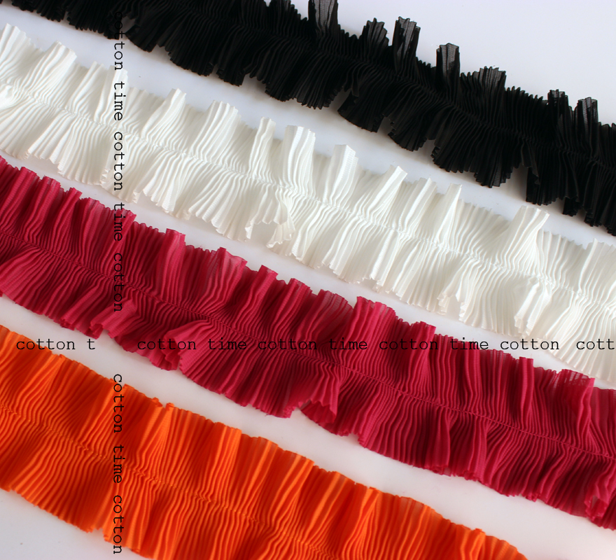 5Yards/lot 6cm wide Ruffle Lace Trims Pleated Lace Chiffon Tape Ribbon Sewing materials girls clothing accesory AC174