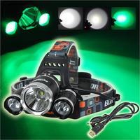 Boruit 5000LM 3x T6 blanc + 2R2 vert LED Headlamp USB lampe tête de la torche