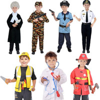 2017 New Kids Boys Police Lawyer Firemen Doctor Cosplay Costume Children Role Play Costumes Halloween Party