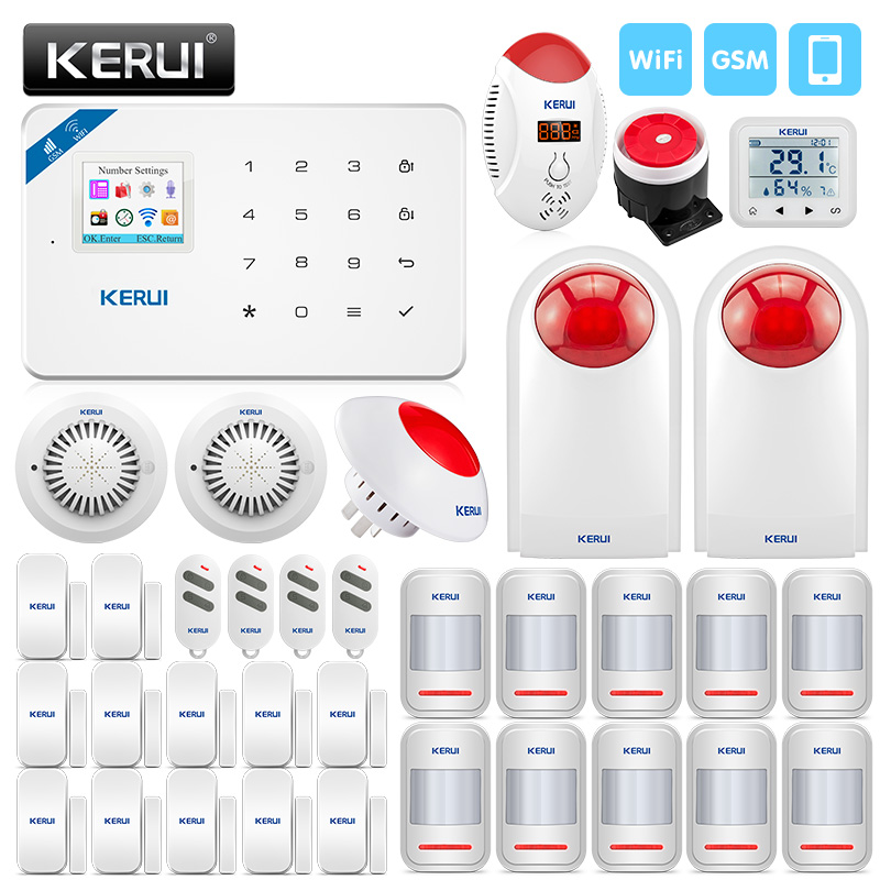 цена на KERUI WIFI GSM Burglar Security Alarm System Smoke Detector SMS APP Control With 10 PIR Motion Detector And 12 Door Sensor