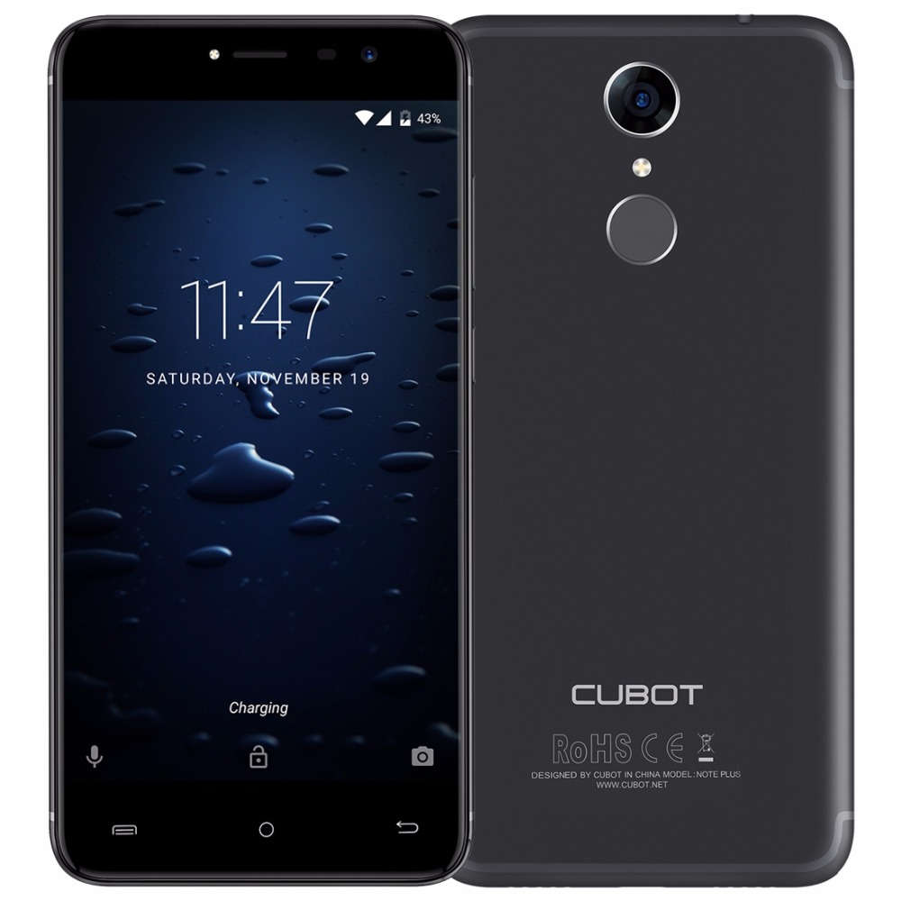 CUBOT Note Plus 4G Smartphone 5.2 FHD 1920*1080P 3GB RAM+32GB ROM MTK6737T Quad Core 16+16MP Cameras Android 7.0 Mobilephone