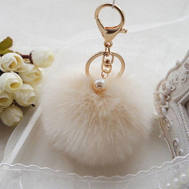 Macio bonito Keychain Bag Pingente Enfeites de Coelho Pompom Pele Bola  Chaveiro Anel Chave Do Carro 0dc1e4055aa