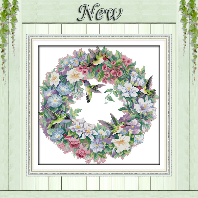 The Art Of Hummingbird Wreath Flowers Painting Counted Print On Canvas Cross Stitch Kits DMC 11CT 14CT Needlework Sets Embroider