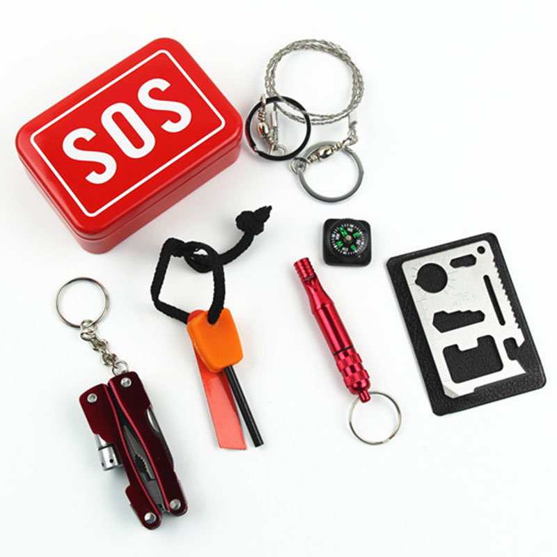 Emergency Camping Box Self-help SOS Survival Kit Equipment For Camping Hiking Saw Whistle Compass Tools