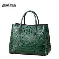 SUWERER 2018 New Women Genuine Leather bags fashion luxury Crocodile pattern schoudertas dames designer women leather tote
