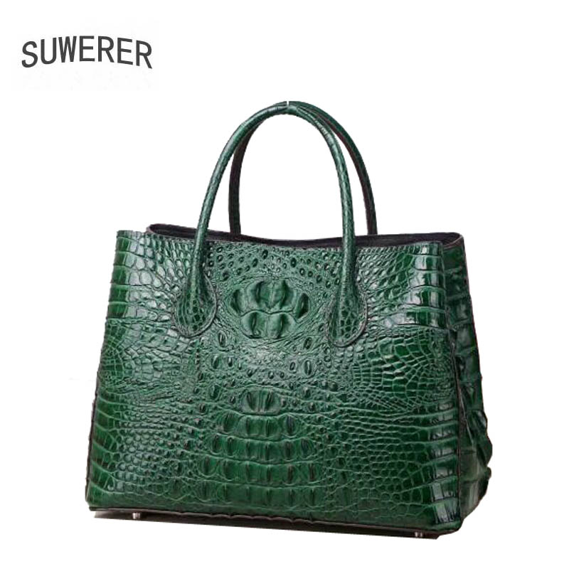SUWERER 2018 Nouvelles Femmes En Cuir Véritable sacs de mode de luxe Crocodile motif schoudertas dames designer femmes en cuir fourre-tout