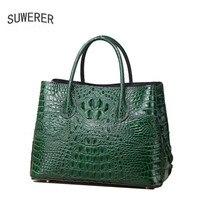 SUWERER 2018 Новый Для женщин Оригинальные кожаные сумки мода люкс крокодил узор schoudertas dames дизайнер Для женщин кожаная сумка