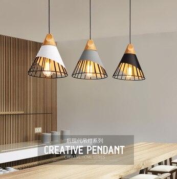 Moderne Anhänger Lichter Esszimmer Anhänger Lampen Moderne Bunte Restaurant Kaffee Schlafzimmer Beleuchtung Eisen + Massivholz E27 Halter
