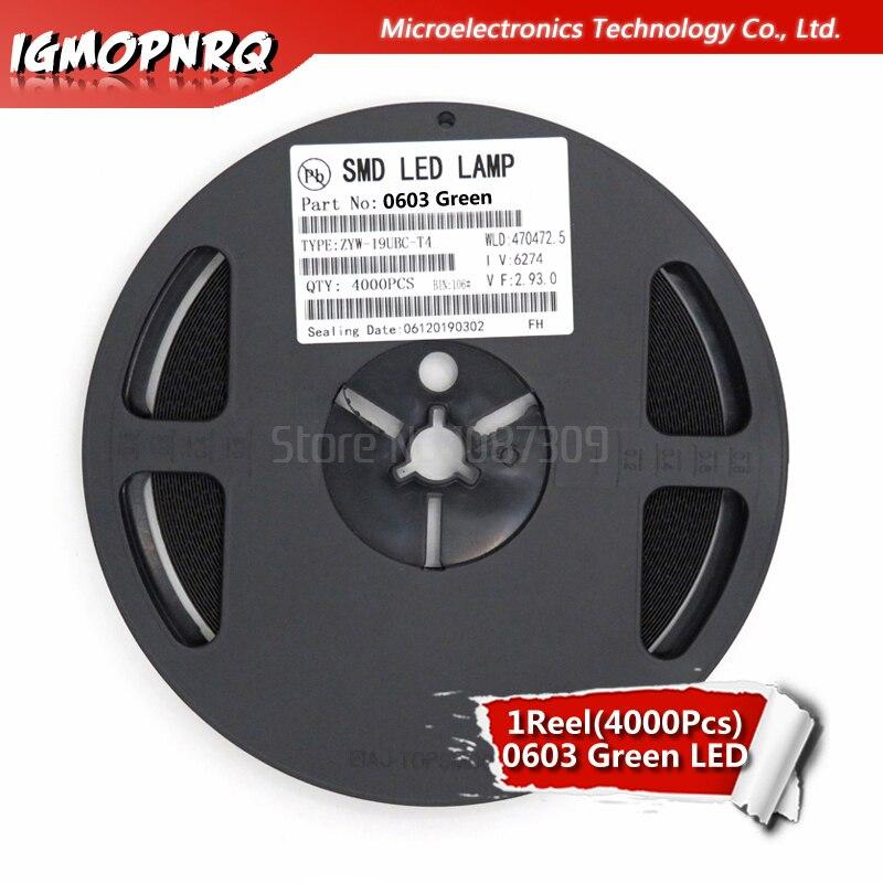 1reel 4000pcs Green 0603 SMD LED Diodes Light