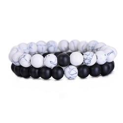 2 шт./компл. пары расстояние браслет классический белые из натурального камня и Черный Инь Ян бисером браслеты для мужчин женщин Best друг
