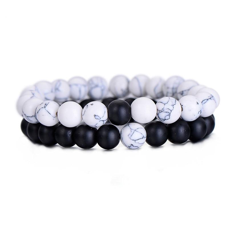 2Pcs/Set Couples Distance Bracelet Classic Natural Stone White and Black Yin Yan