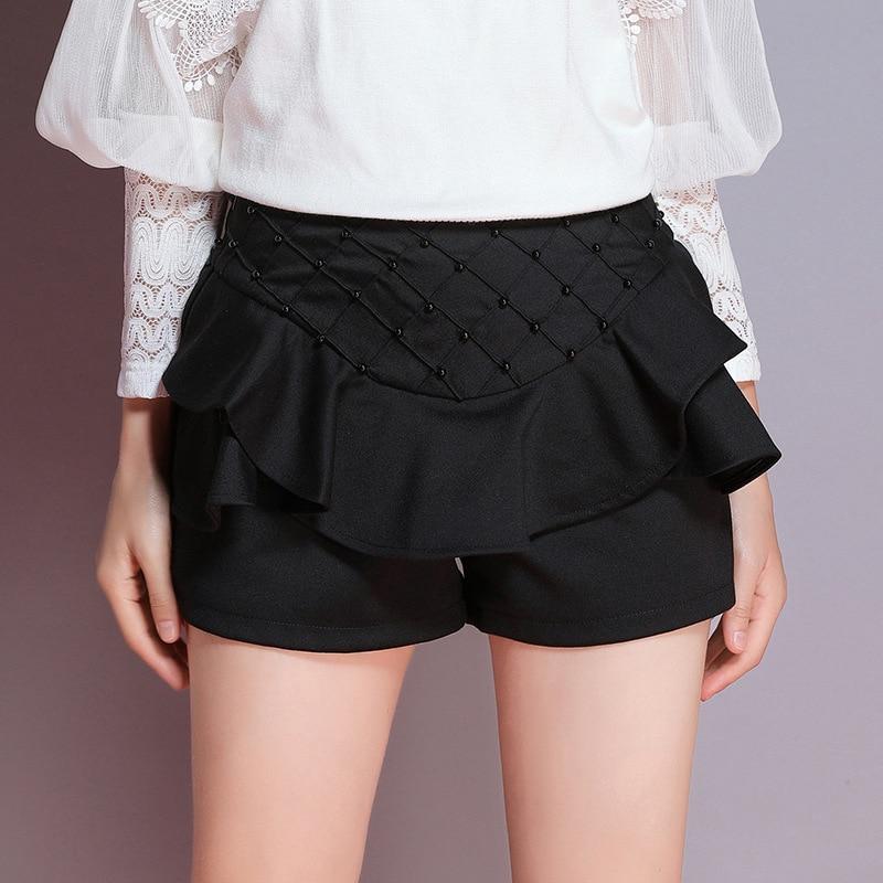 Mujeres Otoño Fondo Negro 2019 Sexy Elegante Pantalones Volantes De Las Ajustados marrón Alta Cortos Encaje Invierno Cintura Mini 7gaawEdx