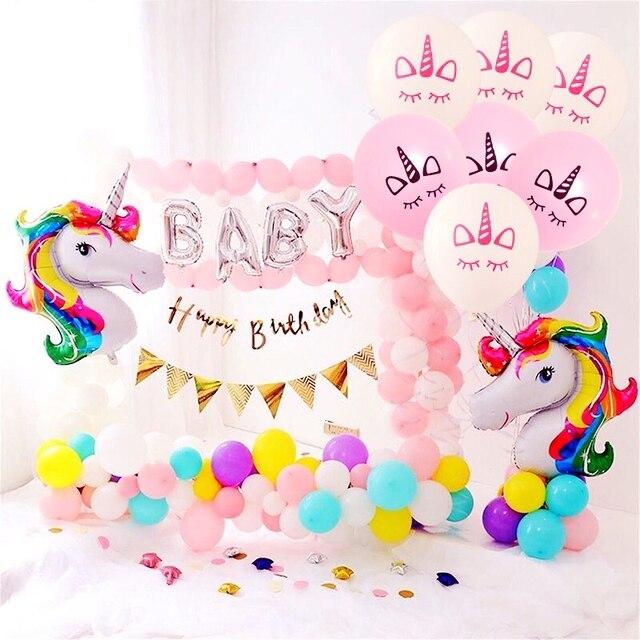 10inch Latex Unicorn Balloons Happy Birthday Cake Toppers Boy Girl