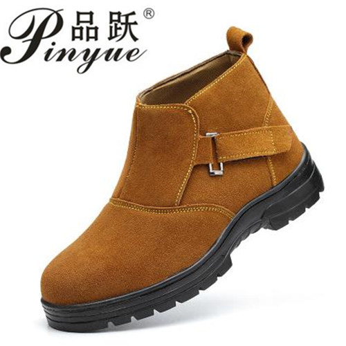 Work Electric Welder Genuine Leather Safety Anti puncture Anti smashing Men Safety Shoes Steel Toe Work