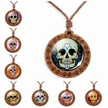 Sugar Skull Necklace Cute Flower Head Glass Cabochon Wood Pendant Rope Chain Jewelry Halloween Gift