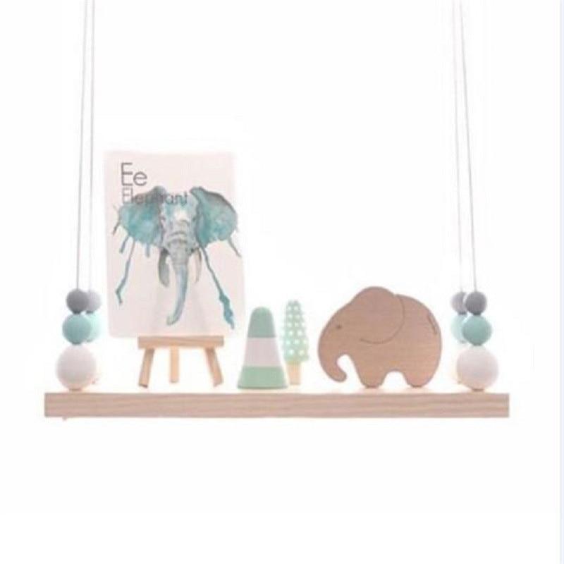 Wandplank wandplank ornament fotos : Baby Nordic Originele Houten Kralen Wandplank Opslag ...