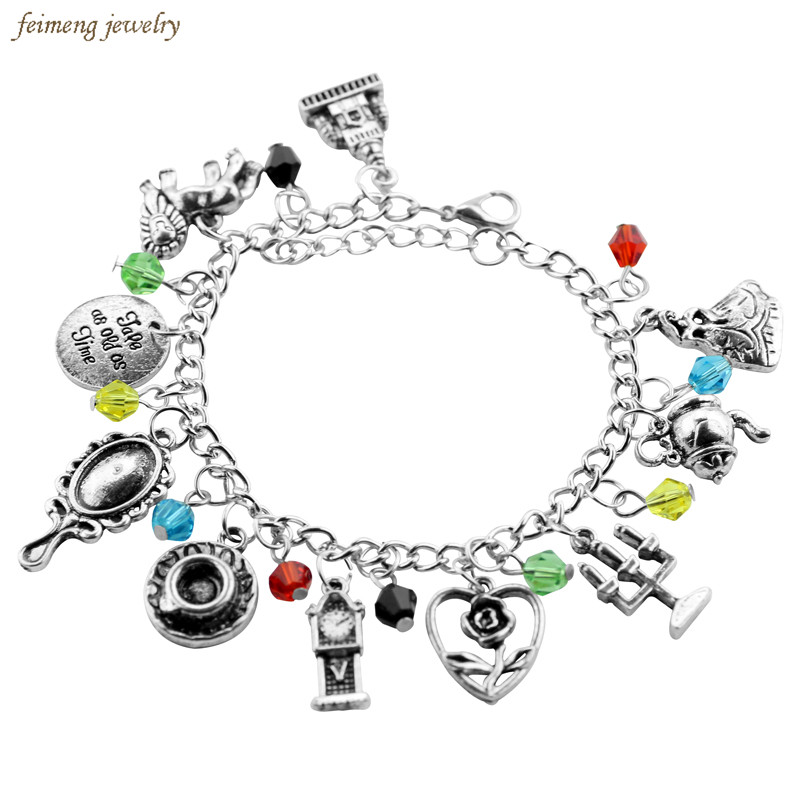 New Movie Beauty and the Beast Charm Bracelet Rose Mirror Pendulum Candlestick Crystal Beads Belle Inspired Bangle Women Jewelry