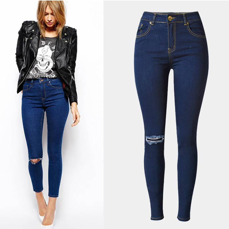 2016 Ripped Jeans for Women High Waist Skinny Jeans with Holes Female Stretch Jeans Pants
