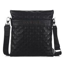 Brand fashion embossing plaid gentlemen leather messenger bag thin design men crossbody phone gadgets holder bag genuine leather