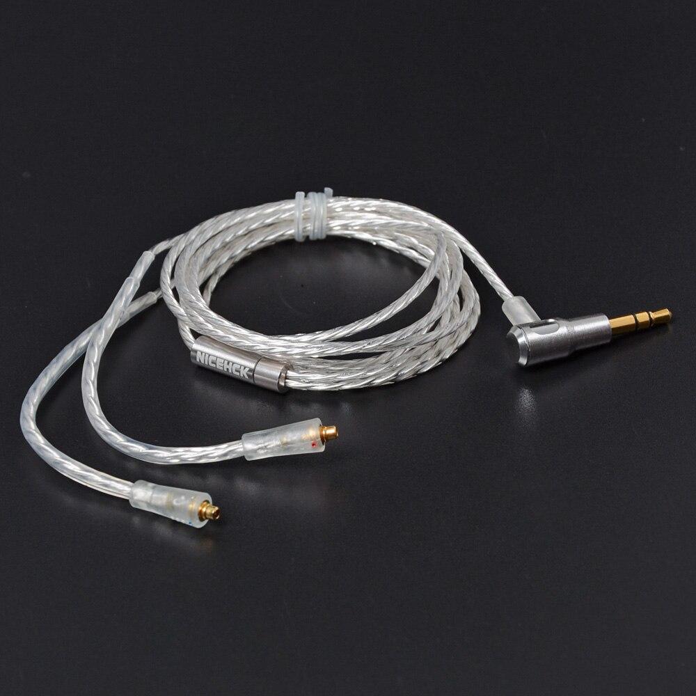 Nicehck 3.5mm mmcx cabo de alta qualidade l bendling plug banhado a prata fone de ouvido uso atualização para se535 se846 dt600 dt500 gancho da orelha